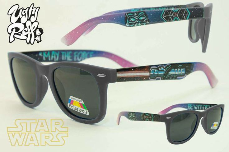 """These are """"Star Wars"""" Polarized Sunglasses  in a high quality frame with matte black frontside. Custom painted by hand with great attention to detail  using high quality paints. You dont have to worry about the colour protection because  we seal it with extra strong varnish.  Optical lenses can be put in the frame. """"MAY THE FORCE...BE WITH YOU"""""""
