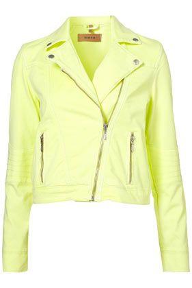 MOTO Neon Denim Biker Jacket - love the color