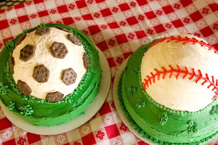 Baseball and Soccer ball birthday cakes