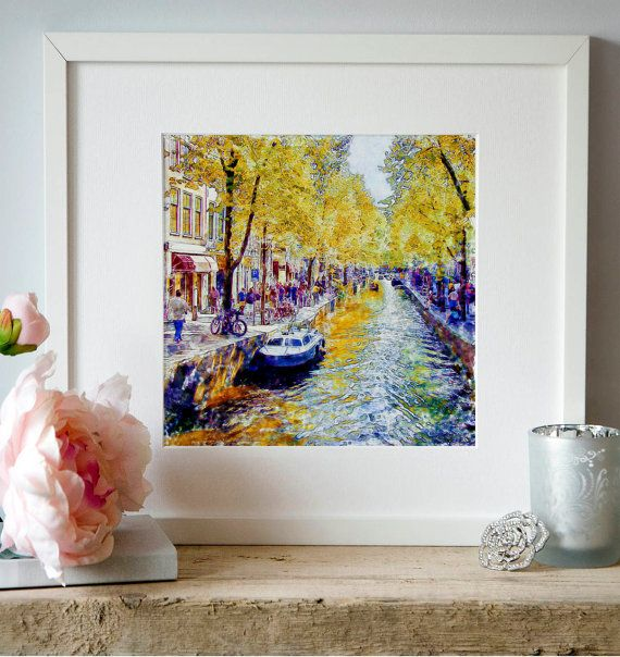 Amsterdam Canal watercolor painting for instant by Artsyndrome