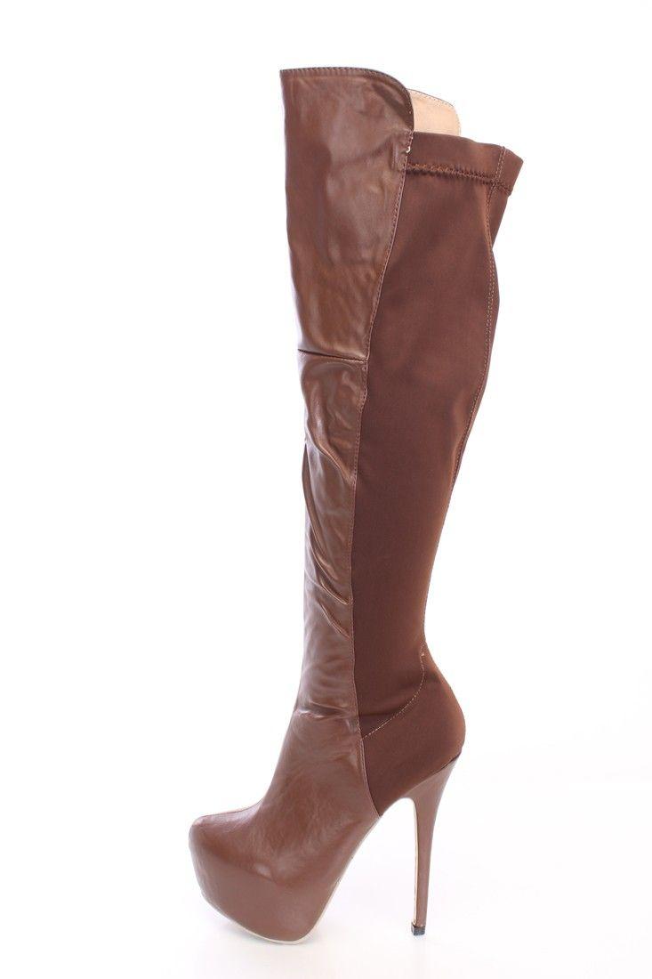 Name: Doris Brown Almond Toe Platform Slip-on Stiletto Heel Knee-high Boots