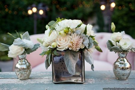 Blush florals and mercury glass. Love the idea of using Mercury glass