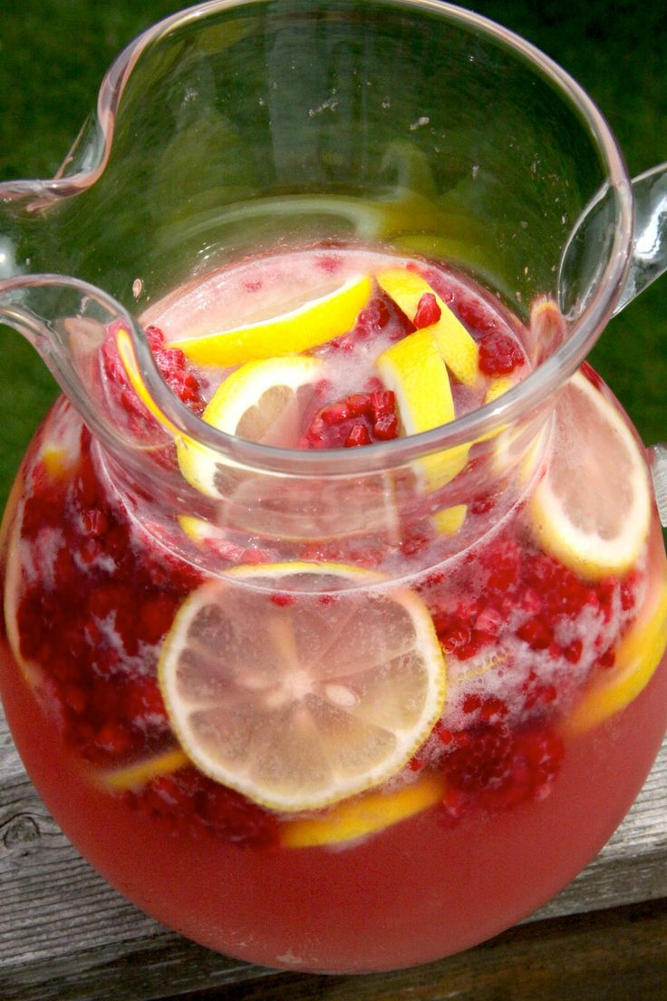 Yummy punch made with fresh raspberries and mint leaves. Great idea for the spring and summer!