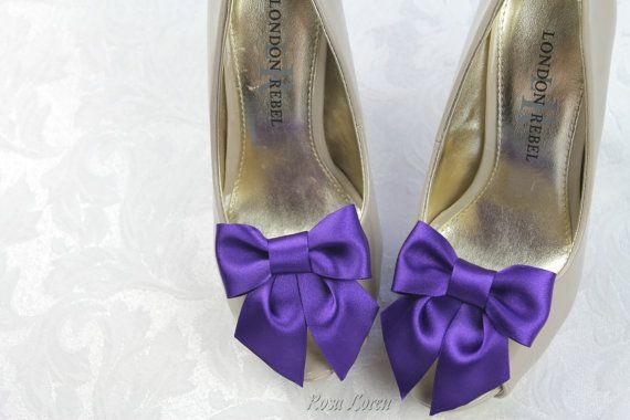 Purple Shoe Clips, Purple Satin Bow Shoe Clip, Purple Wedding Accessories Shoes Clip