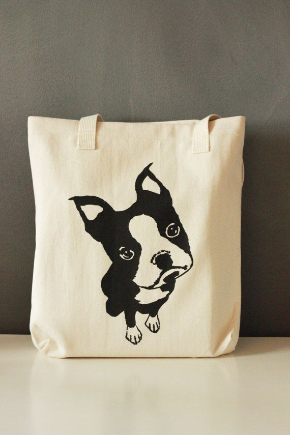 I want!!!!  Boston Terrier Screen Printed Tote Bag  by LittleBlueFeathers, $17.95