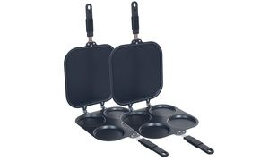 Make perfect pancakes, sunny side up eggs, and more with this set of two non-stick, two-sided pans; rubberized grips stay cool as you cook