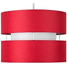 MiniSun - Moderna pantalla para lámpara de techo colgante cilíndrica a dos niveles con acabado en rojo