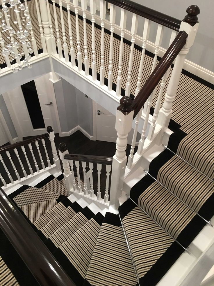 Brintons Carpets Stripes Collection Humbug & True Velvet Jet Stair Runner And Matching Landing Carpet