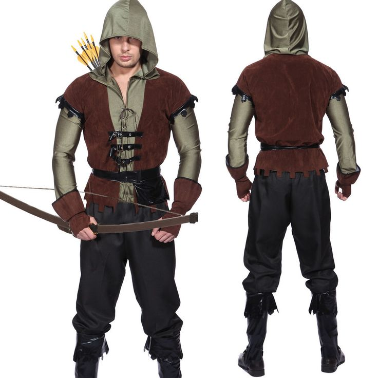 Mens Robin Hood Medieval Archer Prince Of Thieves Peter Pan Fancy Dress Costume