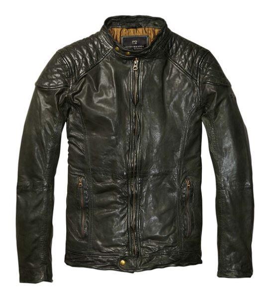 leather biker jacket with shoulder panels scotch and soda pretty. Black Bedroom Furniture Sets. Home Design Ideas