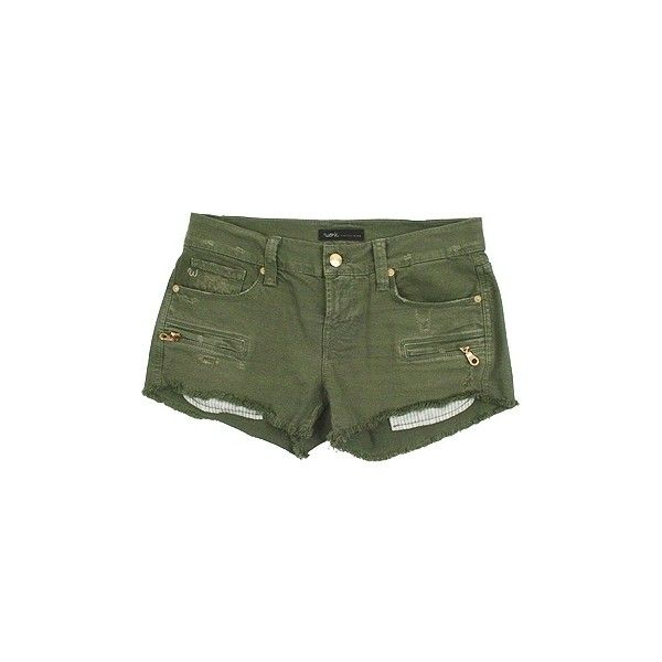 Work Custom Jeans - Women's Olive Panther Cargo Cut-Off Shorts (2.430.900 IDR) ❤ liked on Polyvore featuring shorts, bottoms, pants, short, short shorts, olive shorts, green camo cargo shorts, cut-off shorts and cut off short shorts