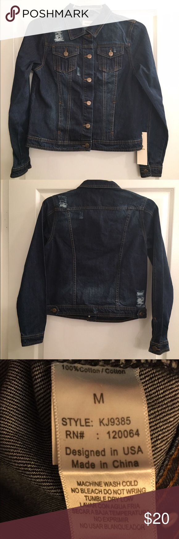 "Ladies Denim Jacket - NWT - Sz M Distressed Ladies Denim Jacket - NEw with tags - Sz M. Dark blue. Bust is 36"" waist 35"" hips 35"". Jackets & Coats Jean Jackets"
