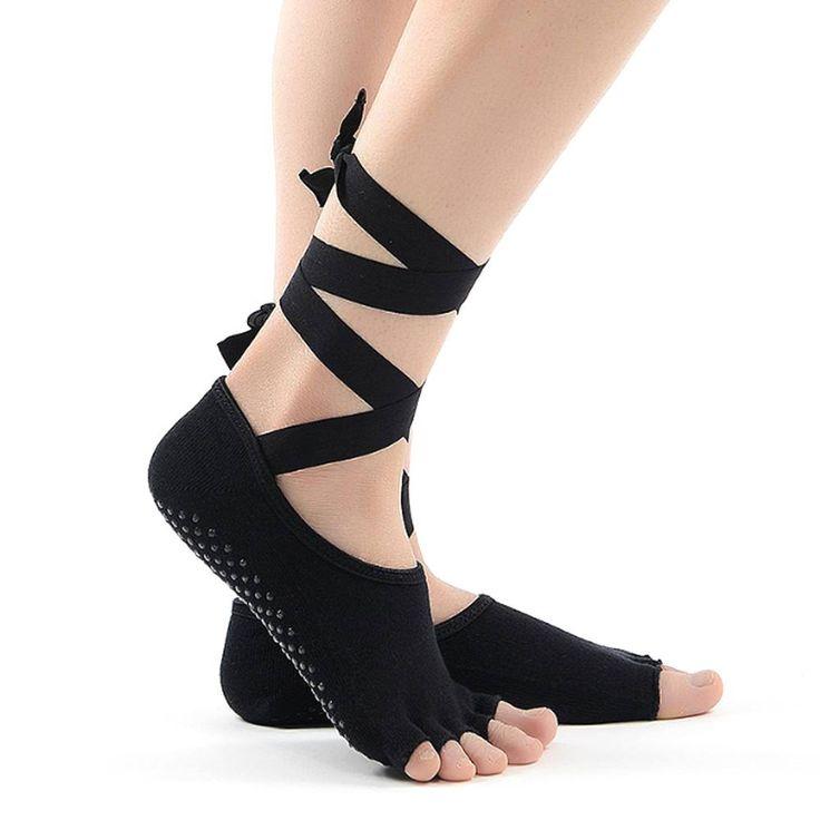 100% cotton yoga socks black yoga, pilates, crossfit socks