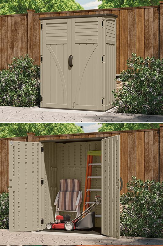 BMS5700. This Suncast versatile vertical shed makes it easy to get organized outside.