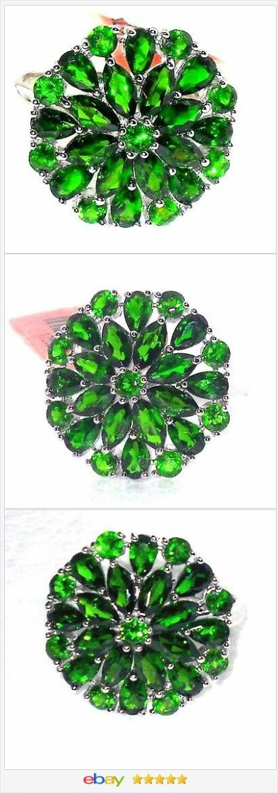 50% OFF #EBAY http://stores.ebay.com/JEWELRY-AND-GIFTS-BY-ALICE-AND-ANN  Russian Chrome Diopside Cluster ring 6.00 carats size 7 Sterling USA Seller