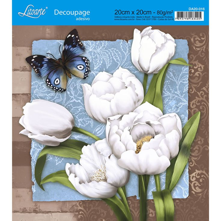 Adesivo de Papel para Decoupage Litoarte 20 x 20 cm - Modelo DA20-016 Tulipas Brancas - CasaDaArte