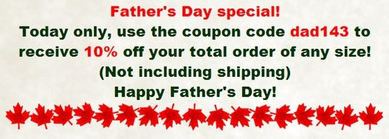 http://www.naturesbestsuperfoods.com/  Father's Day special! Today only, use the coupon code dad143 to receive 10% off your total order of any size! (Not including shipping) Happy Father's Day!