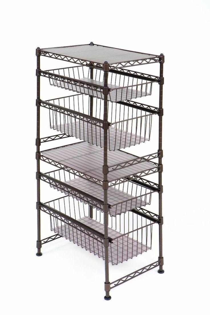 Sliding Drawer Rack Shelf Steel Wire Cabinet Stackable ...