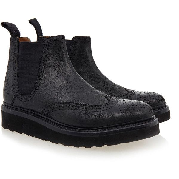 Grenson Alice Black Roughout Suede Boot (11.235 RUB) ❤ liked on Polyvore featuring shoes, boots, black, black slip-on shoes, black brogue boots, black slip on boots, black brogues and black suede boots                                                                                                                                                     More