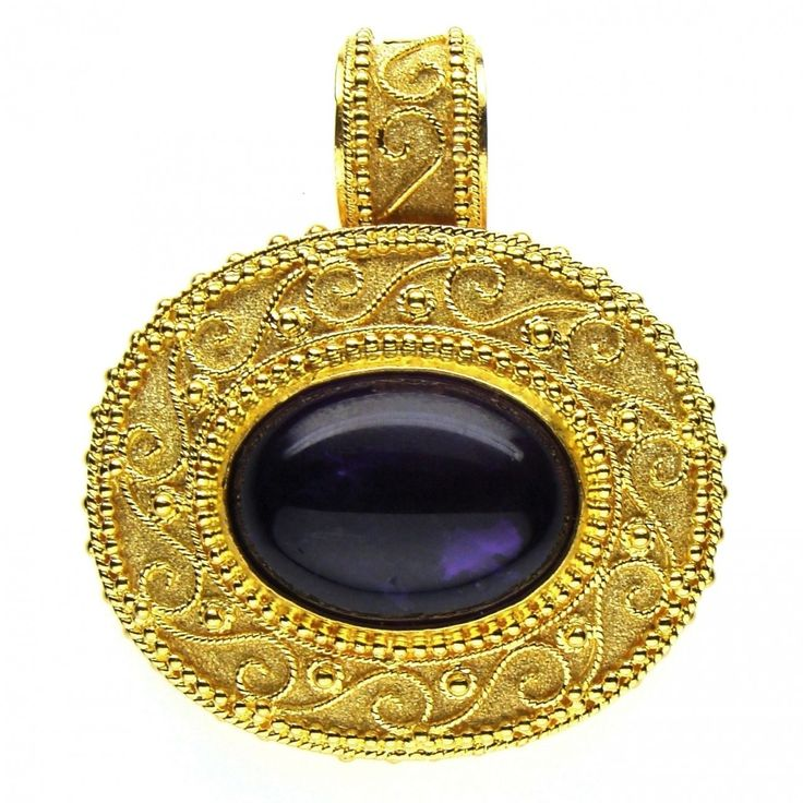 Damaskos Megalo Oraiya Amethyst Pendant 18k Gold And A Center Stone Of Your Choice
