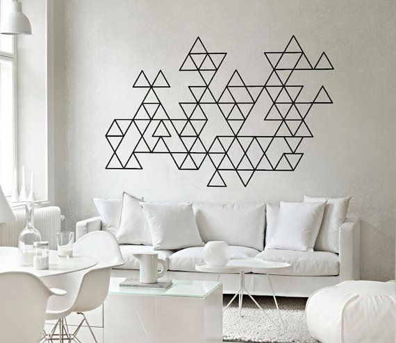 Triangles , Geometric Triangles Wall Art Decals Sticker Home Decor for Housewares Vinyl Wall Decal - Geometric Triangles