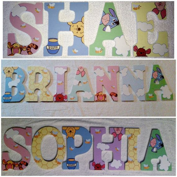 custom wooden letters hanging peeking winnie the pooh wood letter for nursery for girls sign 9