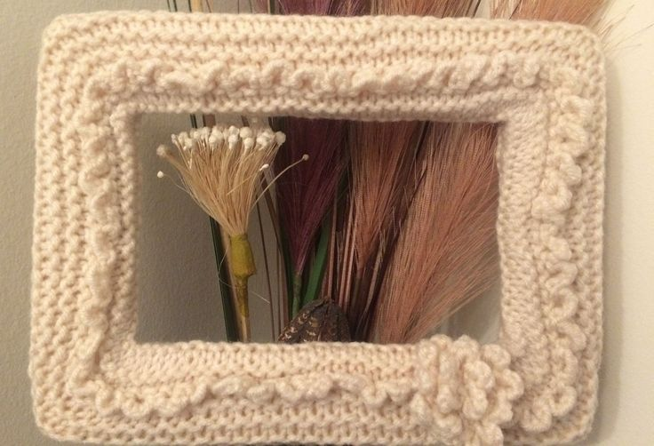 Hand knitted picture frame $30 CAD