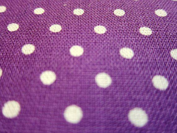 Japanese Cotton Linen Fabric - Polka Dots on Purple - Half Yard