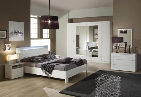 Italian High Gloss White Premium Quality Complete Bedroom Sets Made in Italy