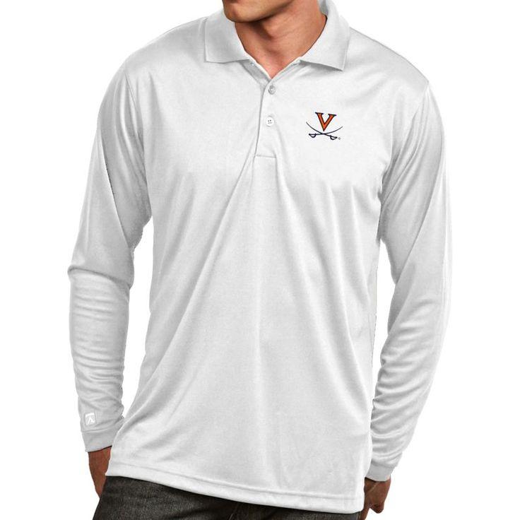 Antigua Men's Virginia Cavaliers White Exceed Long Sleeve Polo, Size: Medium, Team