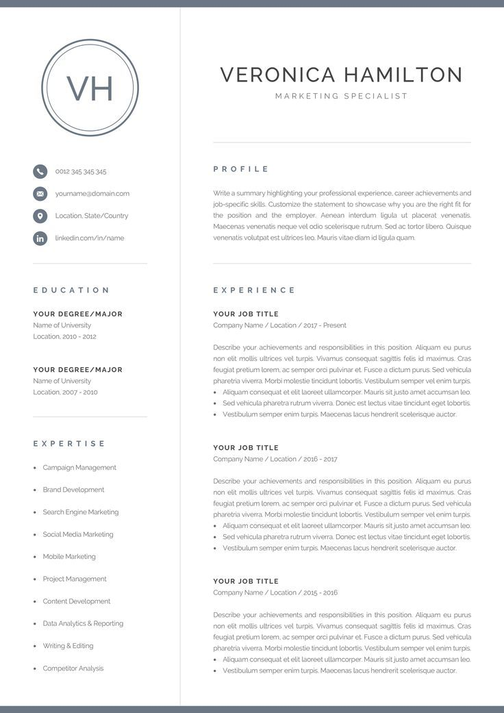 Resume Template With Monogram 1 2 Page Resume Modern Design Logo Marketing Cv Word And Mac Pages Instant Download Veronica Cv Words Resume Template Resume References