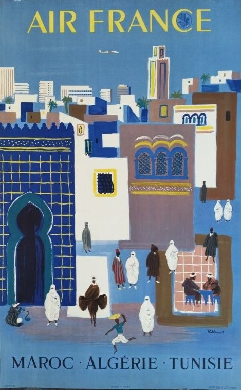 Affiche+originale+Air+France+Maroc+Algérie+Tunisie+-+Bernard+Villemot