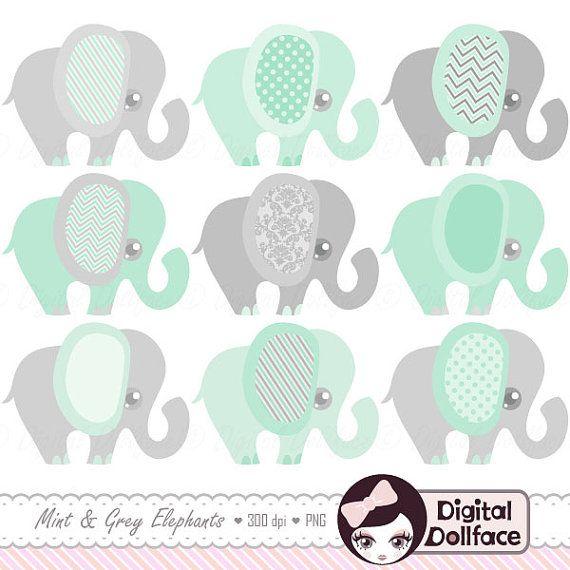 Mint grün Elefant Clipart, Baby-Dusche-Mint und grau Kinderzimmer Kunst, druckbare ClipArt