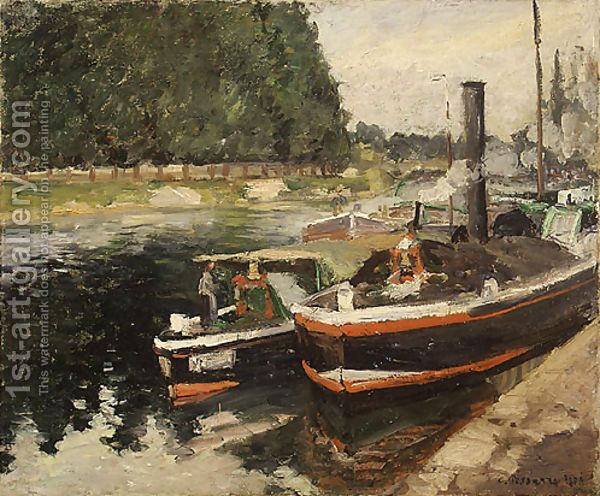 Barges at Pontoise 1876 by Camille Pissarro