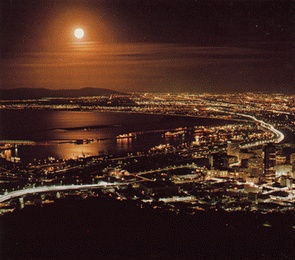 Signal Hill by night, Cape Town, South-Africa