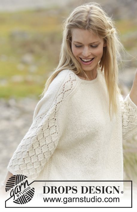 Jumper with lace pattern on shoulders and sleeves, knitted top down in DROPS Puna. Size: S - XXXL