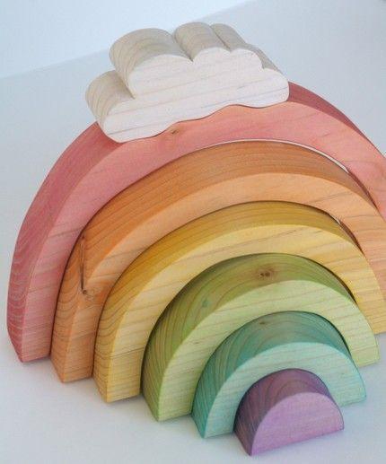 cute simple wooden toys #rainbow