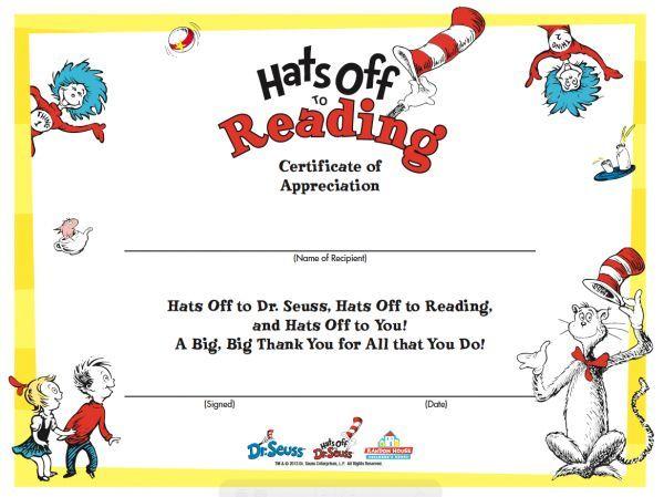Dr Seuss Reading Certificate