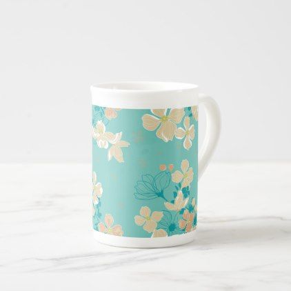 Floral Beige and Teal Tea Cup - floral style flower flowers stylish diy personalize