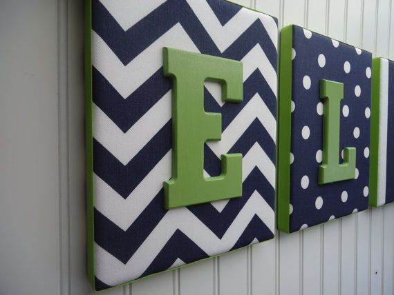 Nursery Letters Nursery Decor Upholstered Letters by fabbdesigns, $20.99 - Love the fabric, I think a darker brighter green on the letters would look better.