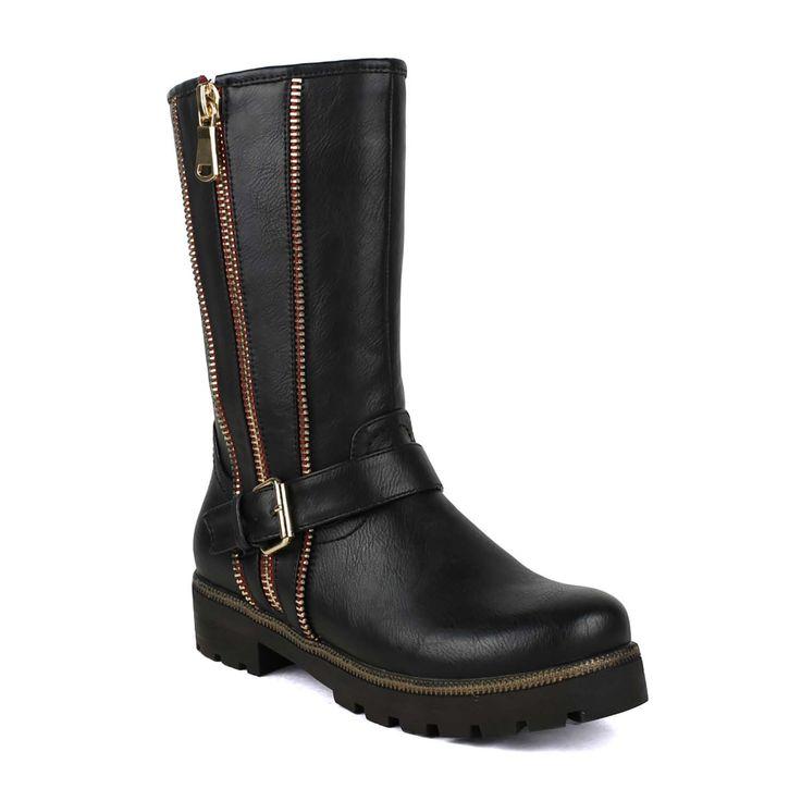 Black Gold zipper & Buckle embelished Women's Zip-up Mid-calf Riding Boot