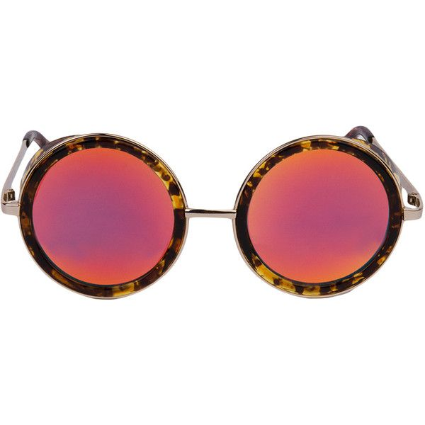 QUAY EYEWEAR Quay Throwback Tortoise Red Round Sunglasses ($50) ❤ liked on Polyvore