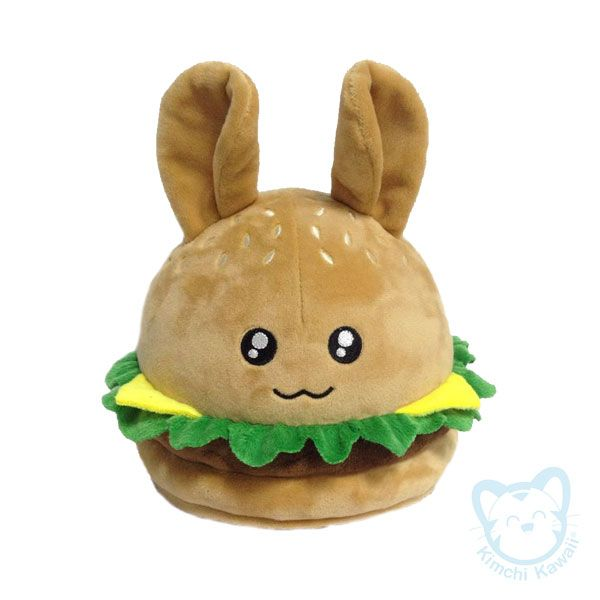 """This cute plush was the stretch goal of the Punny Buns Kickstarter in April, 2015. Punny Buns are cute bunnies combined with bread/pastry themed puns.  Hamburger Bun is a burger bunny pun. The plush is about 8"""" tall and made of super soft minky fabric. All details are professionally embroidered."""