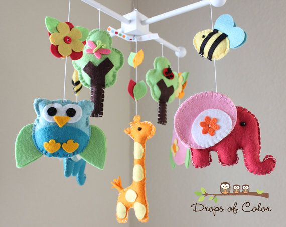 Baby Crib Mobile  Baby Mobile  Nursery Owl by dropsofcolorshop on Etsy - elephant, owl, giraffe, bees, etc