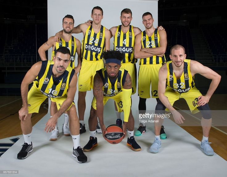 Melih Magmutoglu, #10; Jan Vesely, #24; Nicolo Melli, #4 Marko Guduric, #23; Kostas Sloukas, #16; Ali Muhammed, #35 and Sinan Guler, #32 poses during Fenerbahce Dogus Istanbul 2017/2018 Turkish Airlines EuroLeague Media Day at Ulker Sports Arena on October 2, 2017 in Istanbul, Turkey.