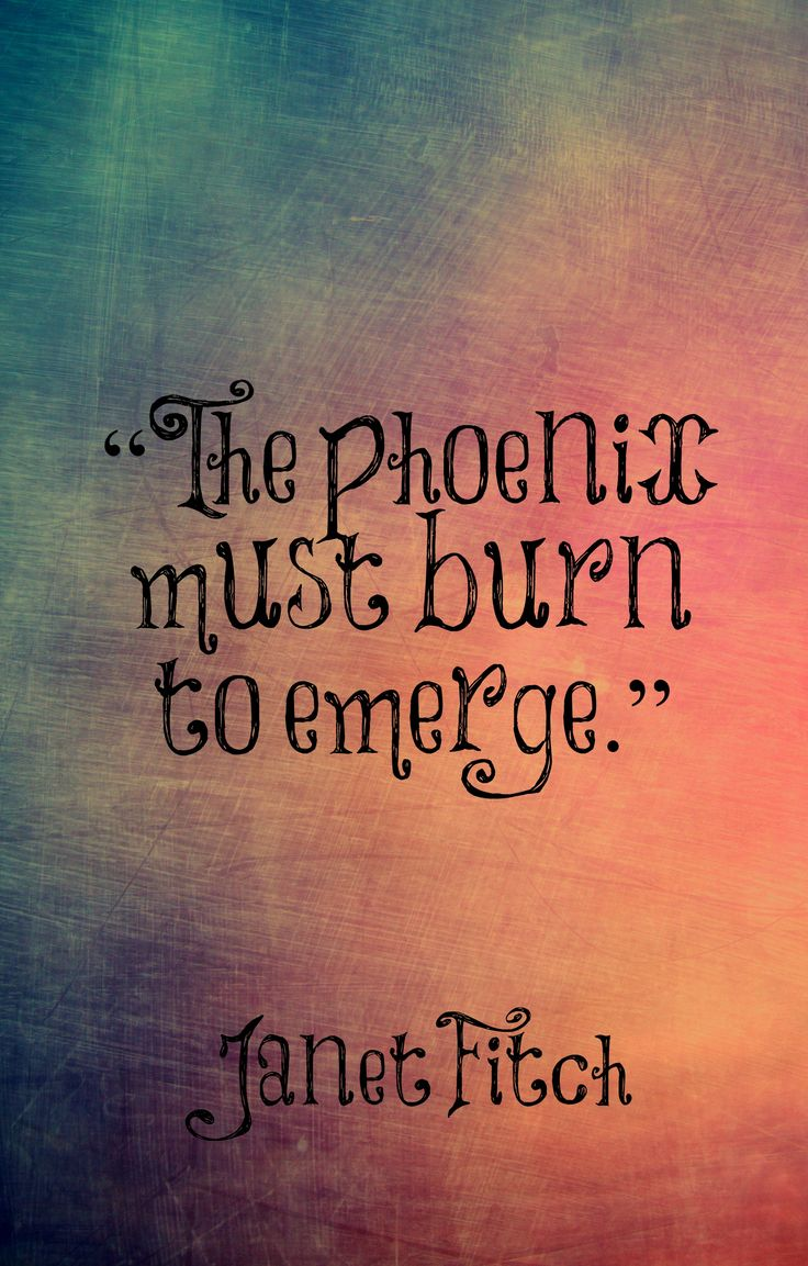 "Janet Fitch, the phoenix must burn to emerge....""burn to emerge whole again"" maybe as a quote..,some variation."