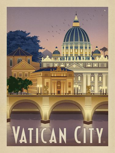 Italy: Vatican City - We were inspired by vintage travel prints from the Golden Age of Poster Design (a glorious period spanning the late-1800s to the mid-1900s.) So we set out to create a collection of brand new international prints with a bold and adventurous feel. This print celebrates the serene beauty of Vatican City at dusk.<br />