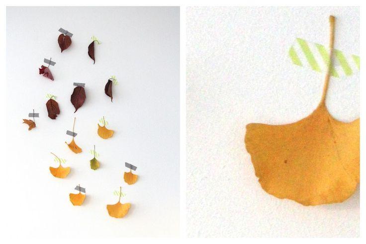 Herbstblätter an der Wand mit Masking Tape befestigen
