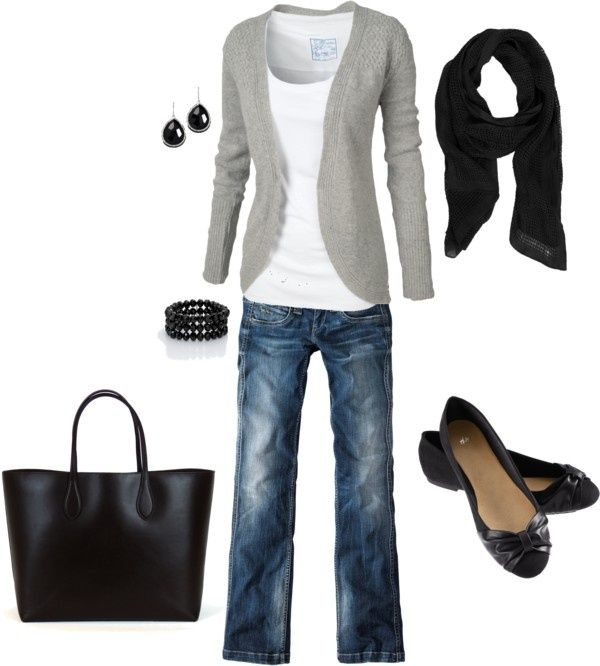 Gray & Black black pants for work and different colored cardigan