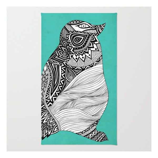 Childrens Rugs Tribal Penguin Rug liked on Polyvore featuring home rugs pom